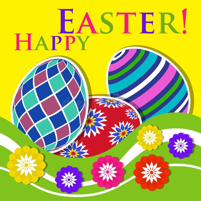 复活节上色了贺卡-与花的鸡蛋 向量例证