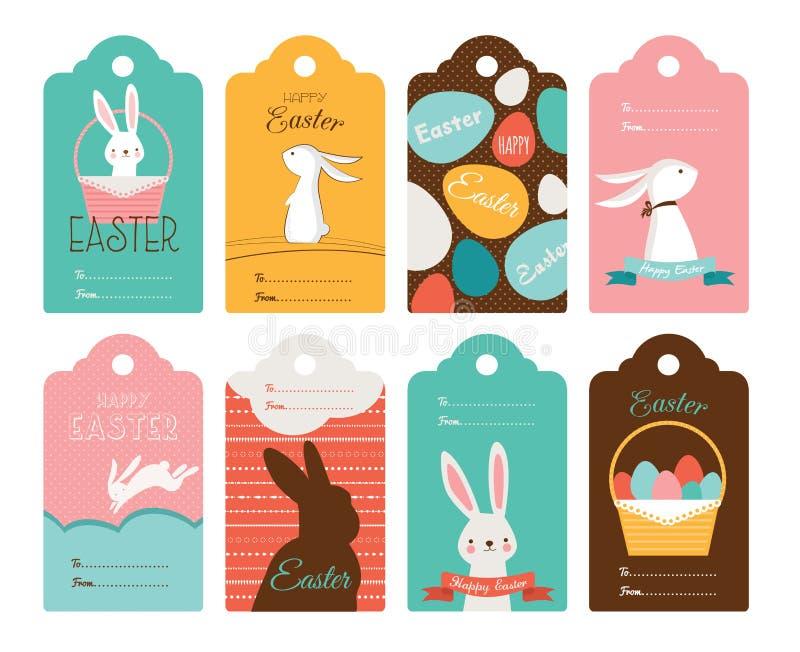 复活节与兔宝宝和复活节彩蛋的标记汇集 愉快的复活节 库存例证