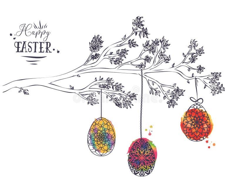 复活节与手拉的分支的贺卡与叶子和Eas 库存例证
