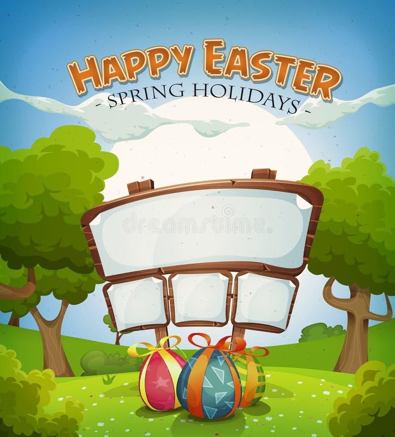 复活节假日和春天风景与标志 向量例证