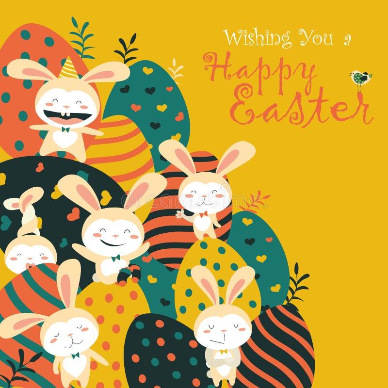 复活节兔子和复活节彩蛋 库存例证
