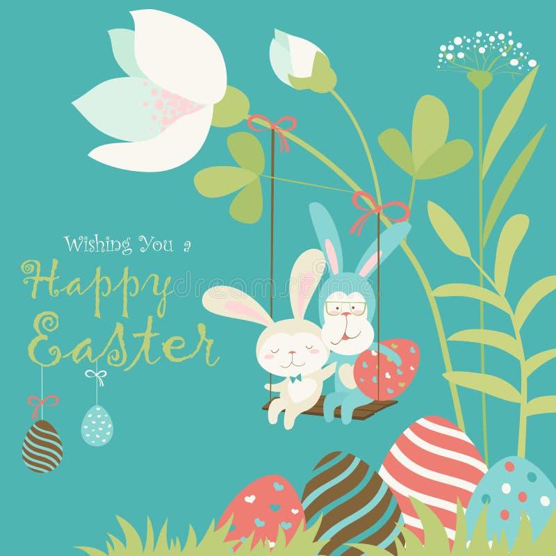 复活节兔子和复活节彩蛋 向量例证