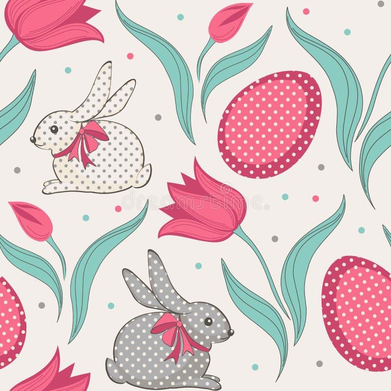 复活节兔子和郁金香花卉无缝的样式 向量例证