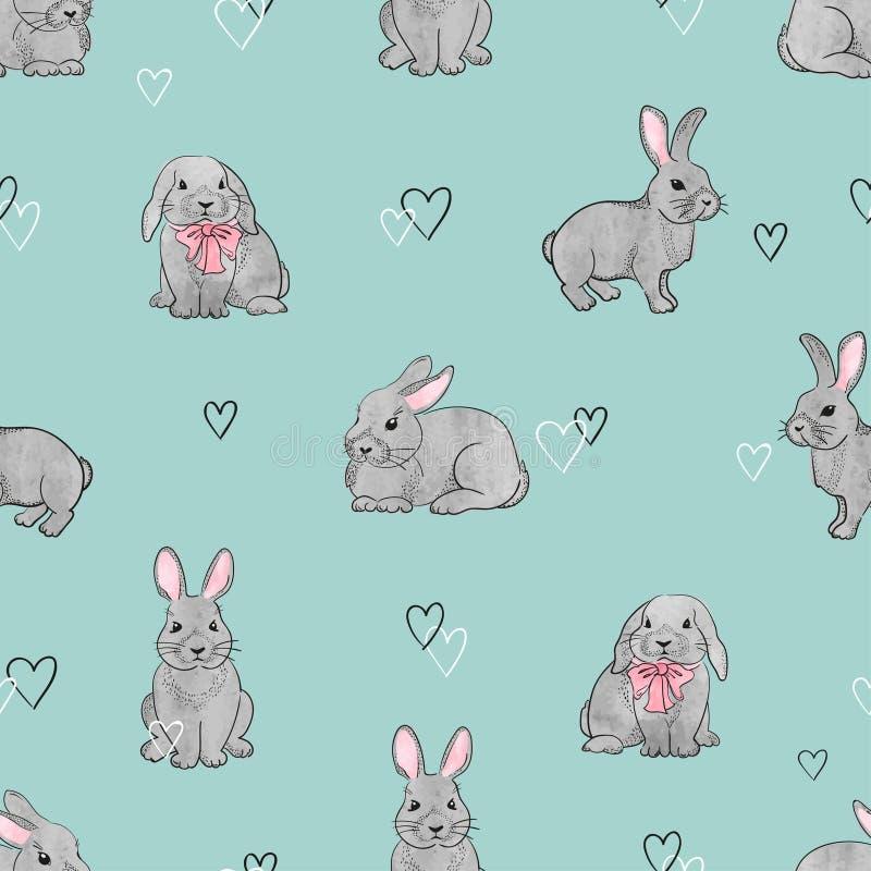 复活节兔子无缝的样式 向量例证