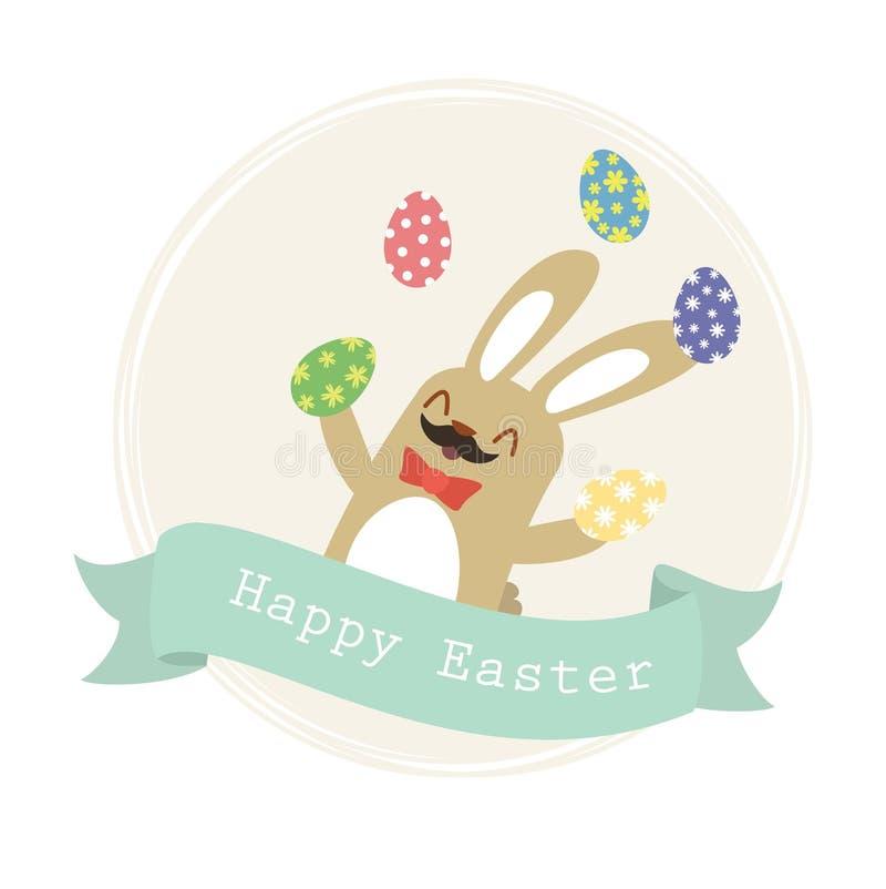 复活节兔子玩杂耍的鸡蛋 向量例证
