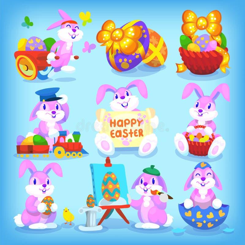 复活节兔子设置了 向量例证