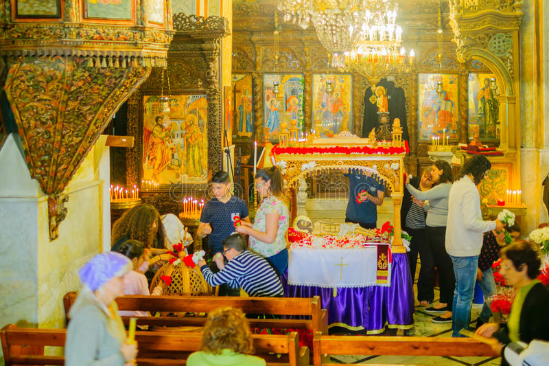 复活节准备在通告希腊东正教里  库存图片