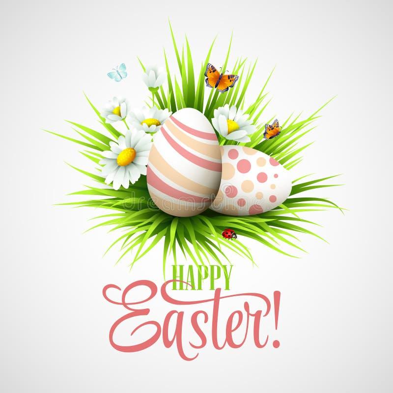 复活节卡片用鸡蛋和花 向量 皇族释放例证
