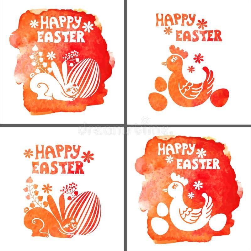 复活节卡集 水彩邮票,兔子,鸡蛋 向量例证