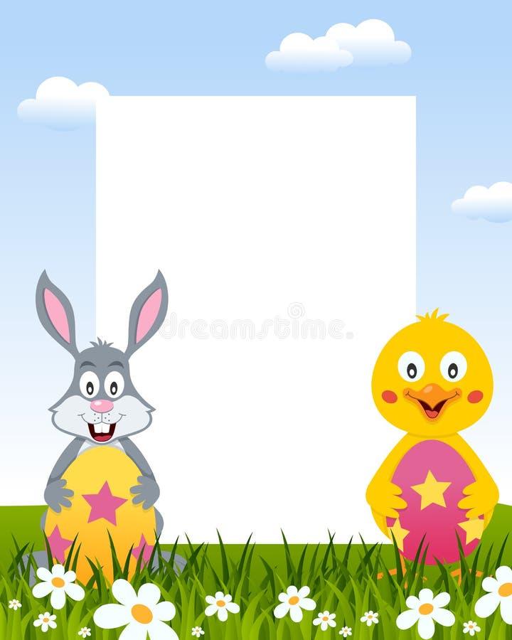 复活节垂直的框架-兔子&小鸡 向量例证