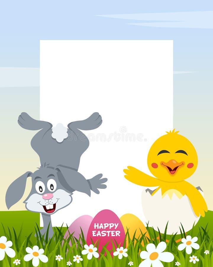 复活节垂直的鸡蛋-兔子和小鸡 库存例证