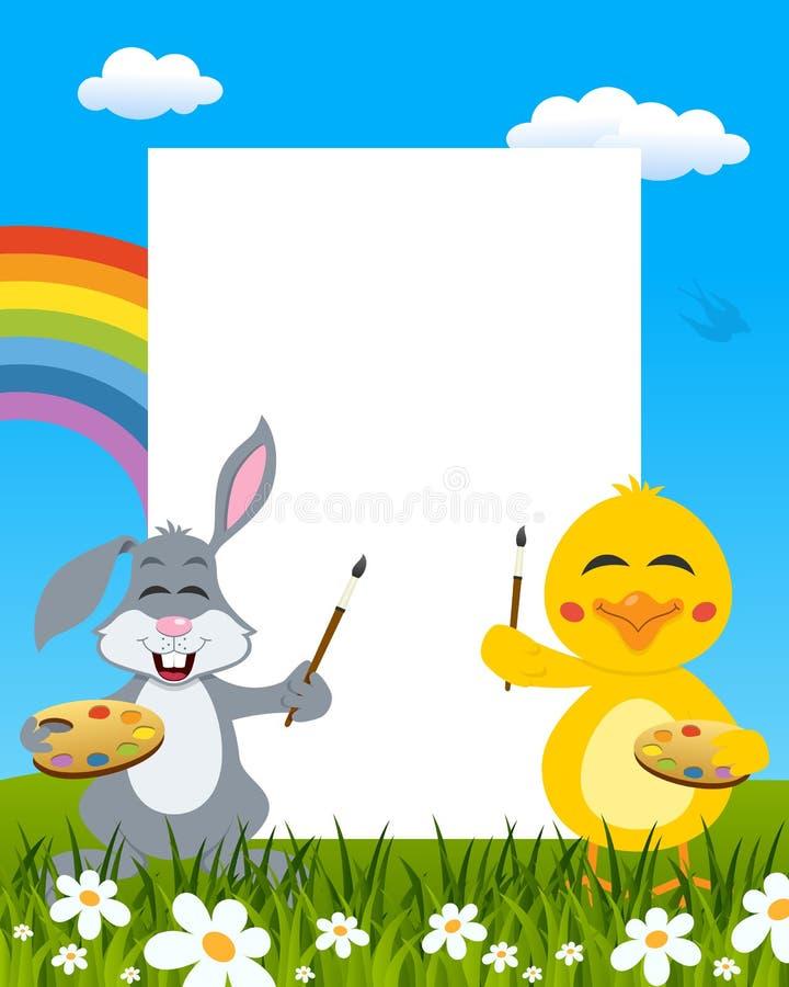 复活节垂直的画家-兔子&小鸡 库存例证
