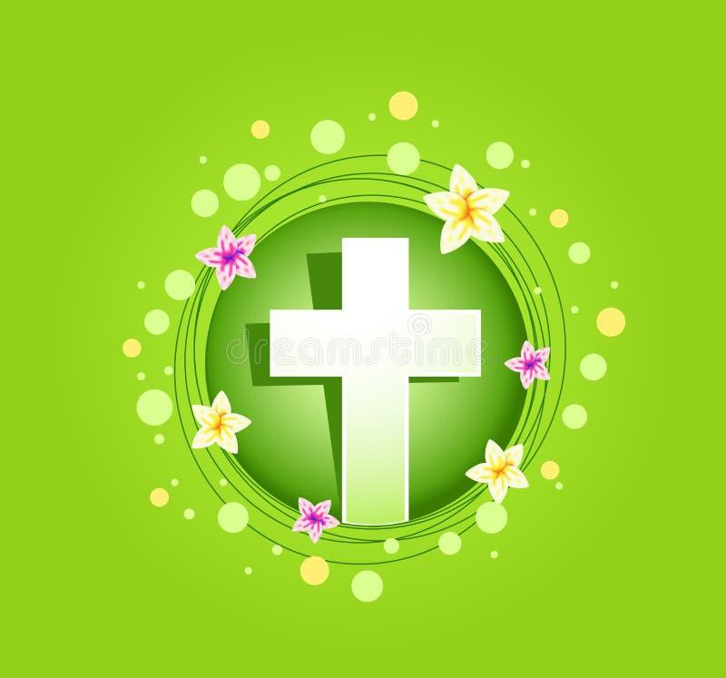 复活节宗教发怒春天卡片 向量例证