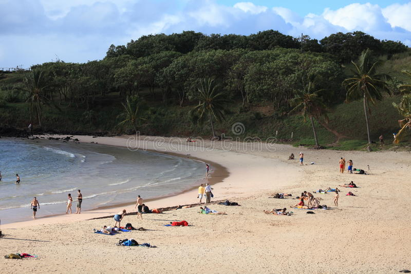 复活节岛海滩Anakena 库存照片