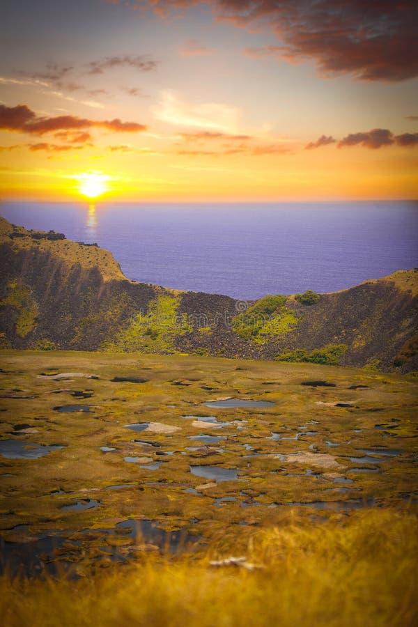 复活节岛kau rano火山 图库摄影
