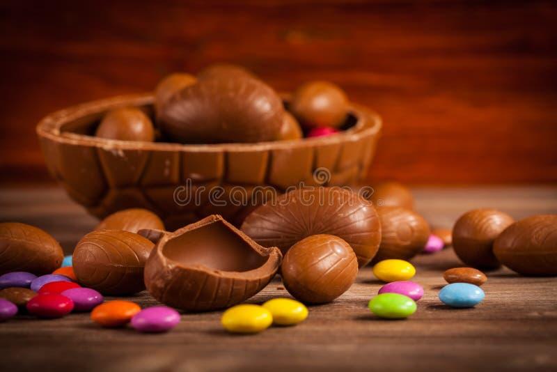 复活节巧克力背景 免版税库存图片