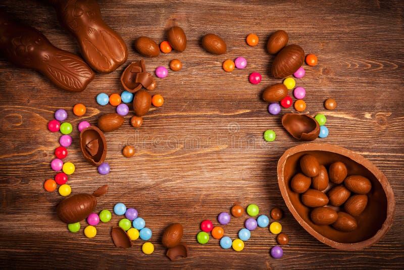 复活节巧克力背景 免版税库存照片