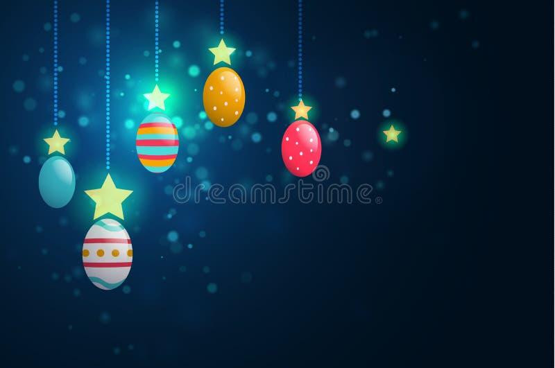 复活节彩蛋和星在深蓝背景 皇族释放例证