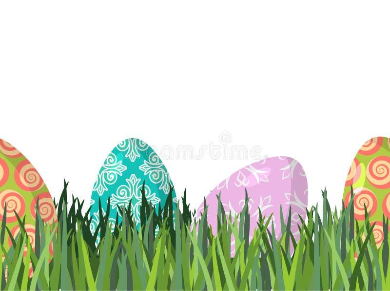 复活节彩蛋和绿草无缝的水平的装饰品 啪答声 向量例证