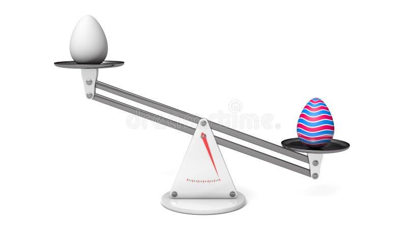 复活节彩蛋对正常鸡蛋 向量例证