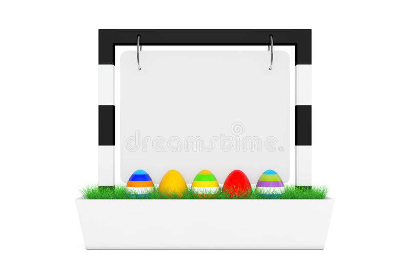 复活节彩蛋行在空白的室外横幅书桌显示的与Gra 皇族释放例证