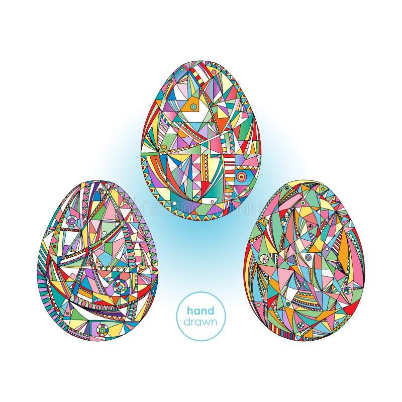 复活节彩蛋设置了背景 手拉的抽象假日例证 向量例证