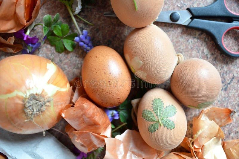 复活节彩蛋,传统方式着色用葱和装饰用草本 免版税图库摄影