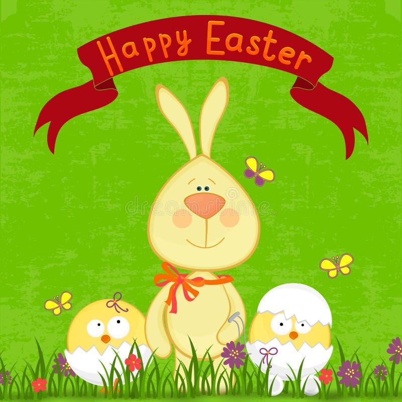复活节快乐。逗人喜爱的复活节兔子 皇族释放例证