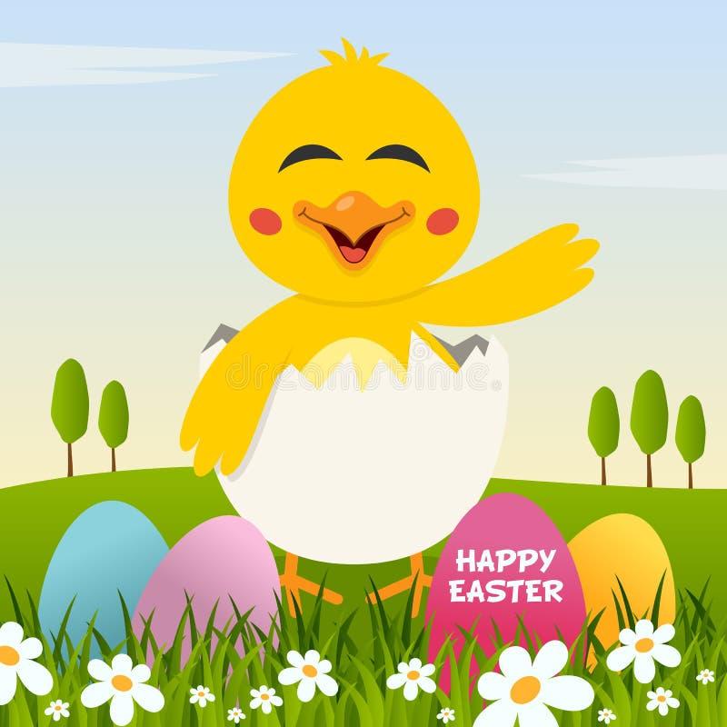 复活节快乐用鸡蛋和一只逗人喜爱的小鸡 库存例证