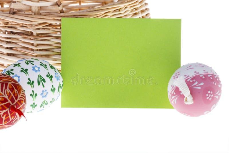 复活节愿望卡片和鸡蛋特写镜头  免版税库存照片