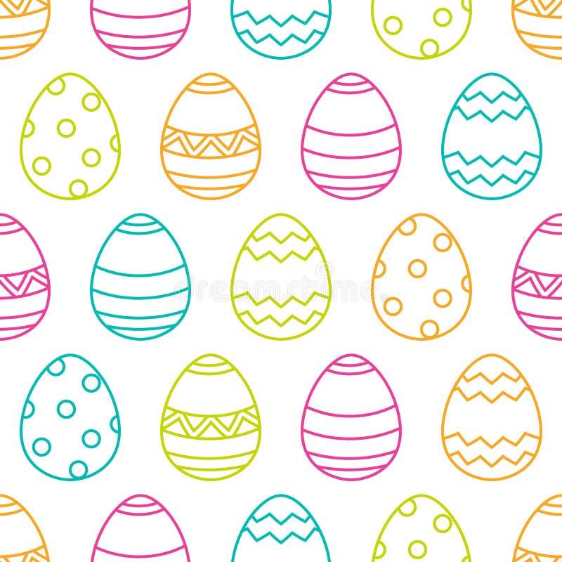 复活节无缝的样式用线性多色鸡蛋 向量例证