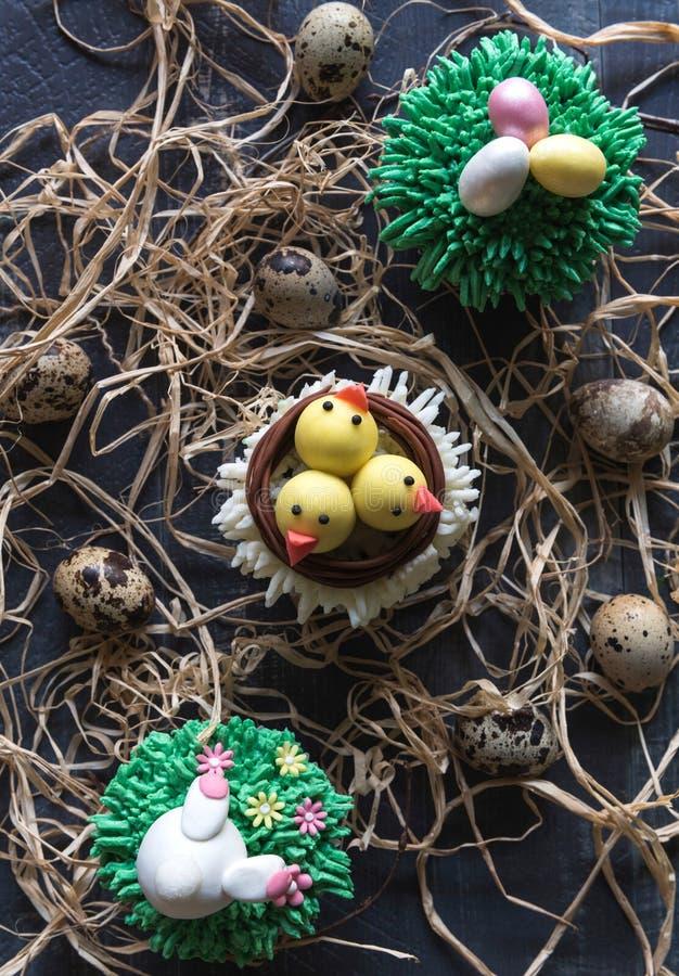 复活节杯子蛋糕和鸡蛋 免版税库存图片