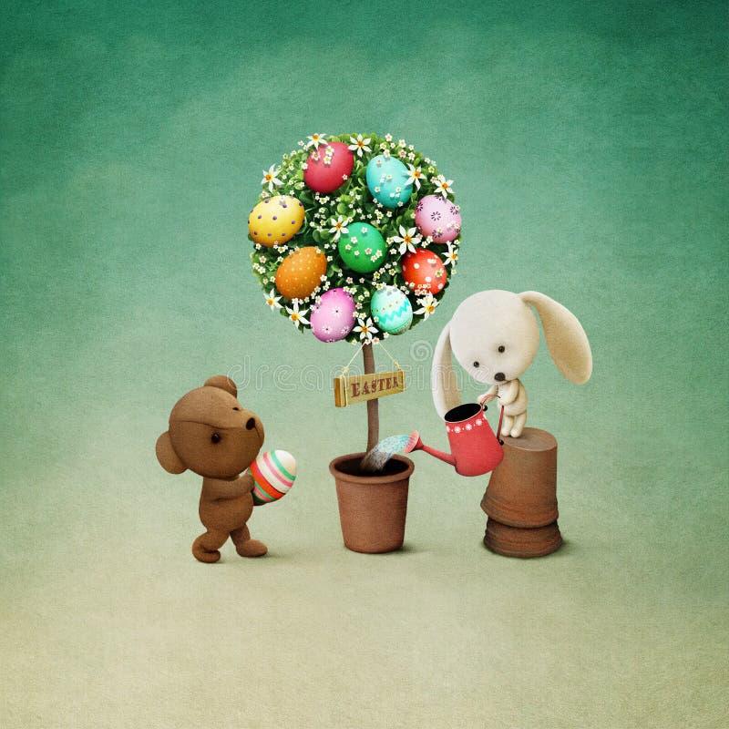 复活节树鸡蛋 库存例证
