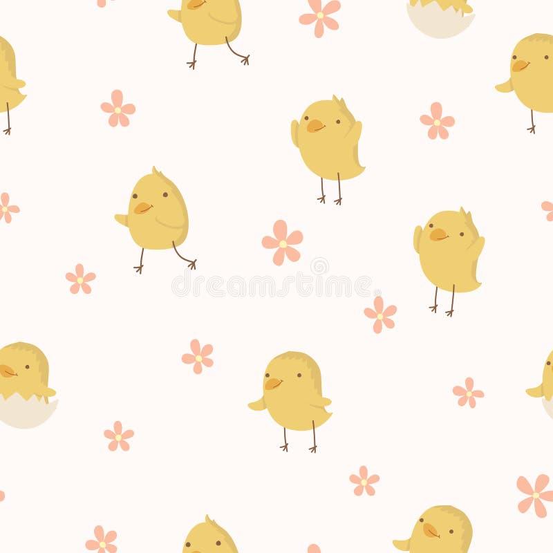 复活节概念无缝的样式。在小点的逗人喜爱的小鸡。 向量例证
