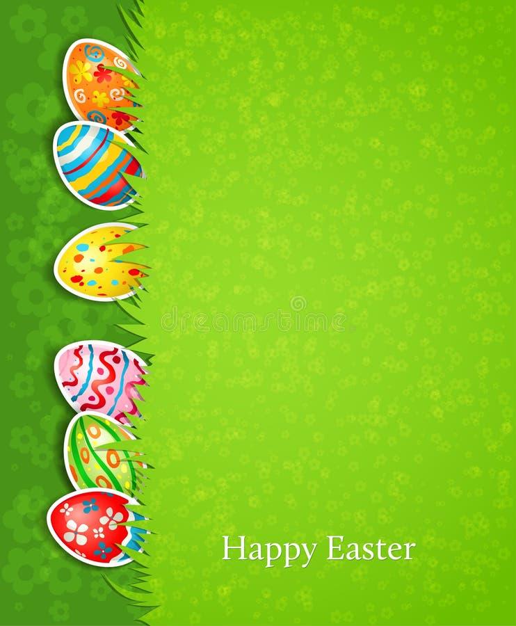 复活节欢乐背景和鸡蛋在草 库存例证