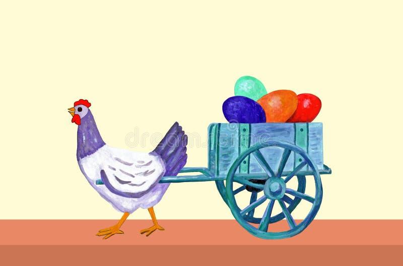 复活节母鸡与鸡蛋它的台车的  皇族释放例证