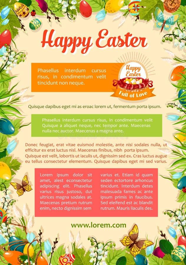 复活节海报模板用鸡蛋和花卉框架 向量例证