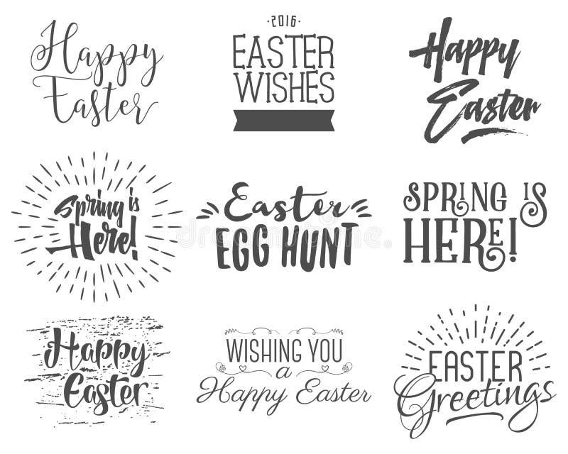 复活节祝愿覆盖物,在标签设计集合上写字 减速火箭的假日复活节徽章 与丝带的手拉的象征 查出 库存例证