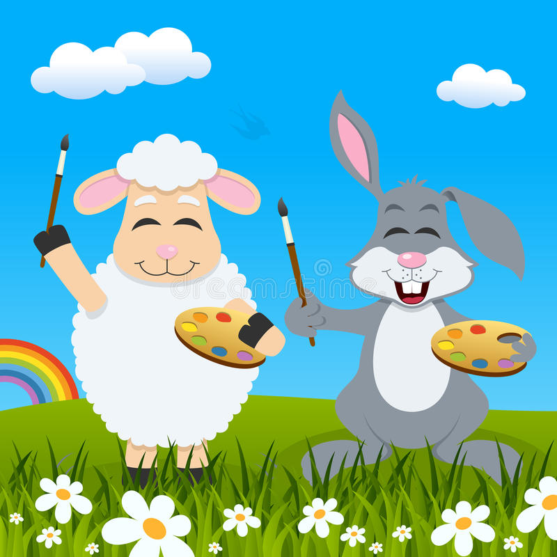 复活节羊羔&兔子画家&彩虹 向量例证