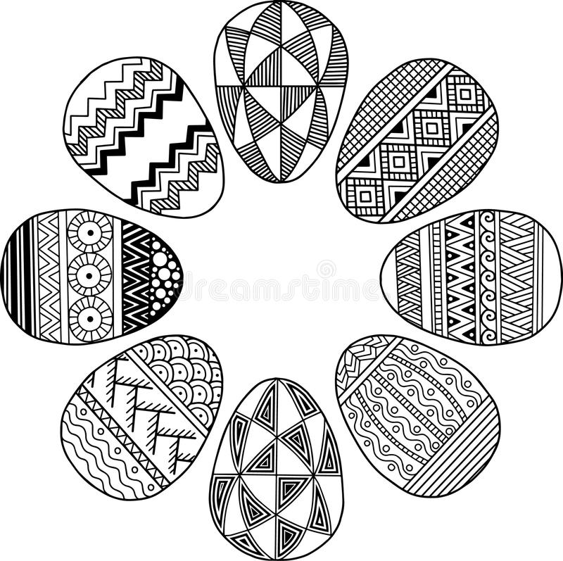 复活节花圈 在白色隔绝的黑白鸡蛋 圆的小插图 抽象背景由复活节彩蛋制成 向量例证