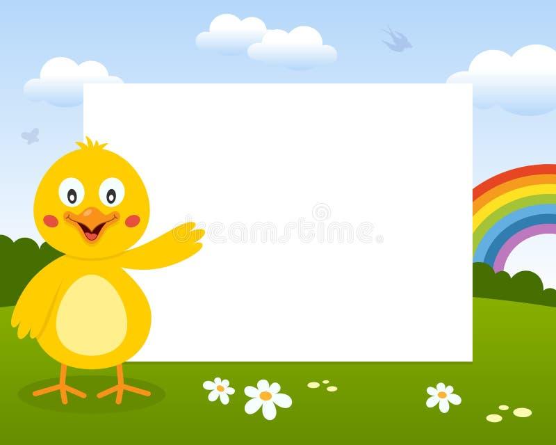复活节逗人喜爱的小鸡照片框架 库存例证