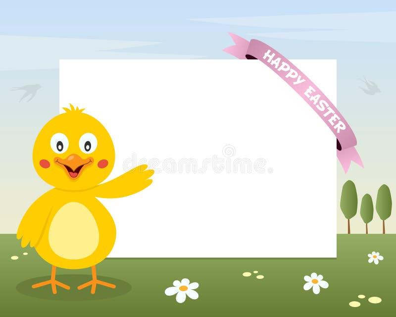 复活节逗人喜爱的小鸡水平的框架 库存例证