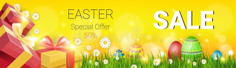 复活节销售购物的特价优待装饰了五颜六色的蛋假日横幅 库存例证