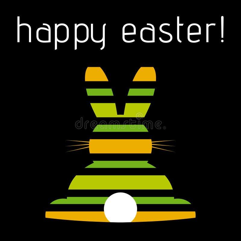 复活节问候,色的镶边兔子,背面图 库存例证