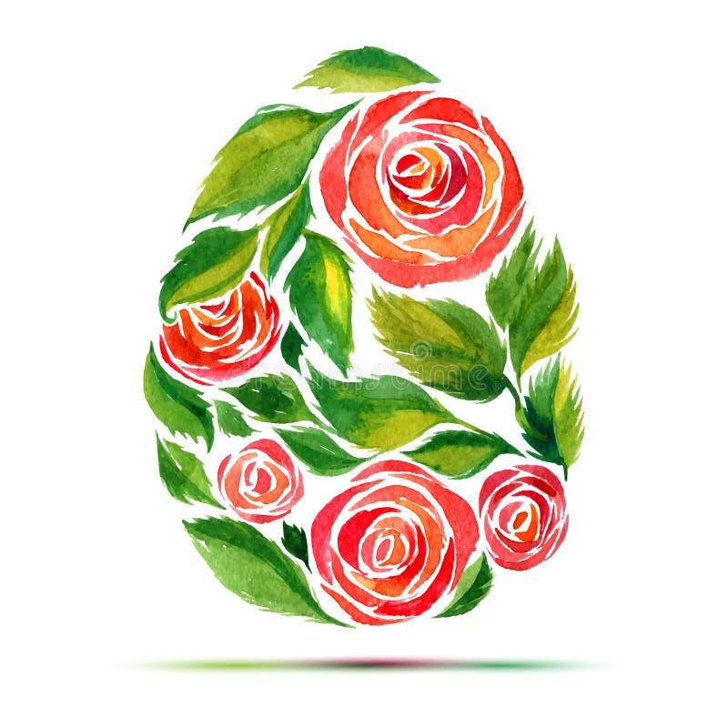 复活节贺卡或邀请的模板 复活节快乐!水彩花玫瑰色鸡蛋 库存例证