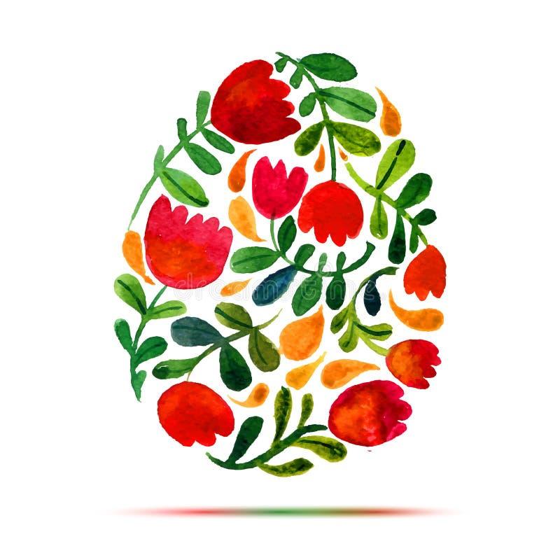 复活节贺卡或邀请的模板 复活节快乐!水彩郁金香 皇族释放例证