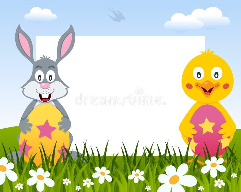 复活节水平的框架-兔子&小鸡 向量例证