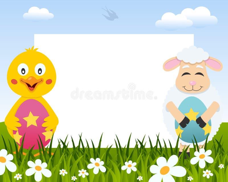 复活节水平的框架-小鸡&羊羔 向量例证