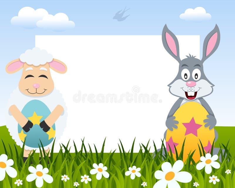 复活节水平的框架-羊羔&兔子 库存例证