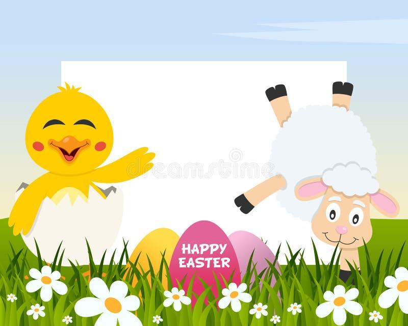 复活节水平的鸡蛋-小鸡和羊羔 皇族释放例证